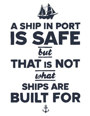 inspirerend: Vintage stijl nautische tekst en schip inspirerende ontwerp Stock Illustratie