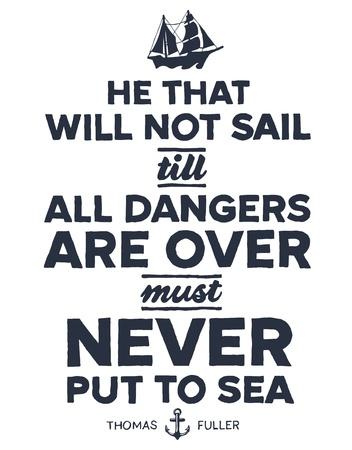 inspirerend: Vintage stijl nautische tekst en schip inspirerend ontwerp Stock Illustratie