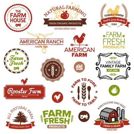 rancho: Conjunto de etiquetas agrícolas clásicos y modernos y diseños