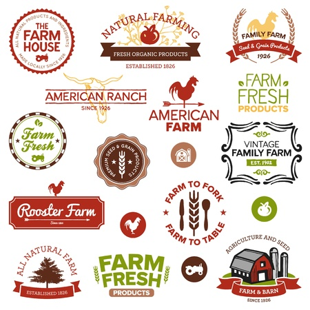 produce product: Set of vintage and modern farm labels and designs Illustration
