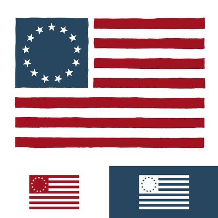 Original vintage American flag design with 13 stars 矢量图像