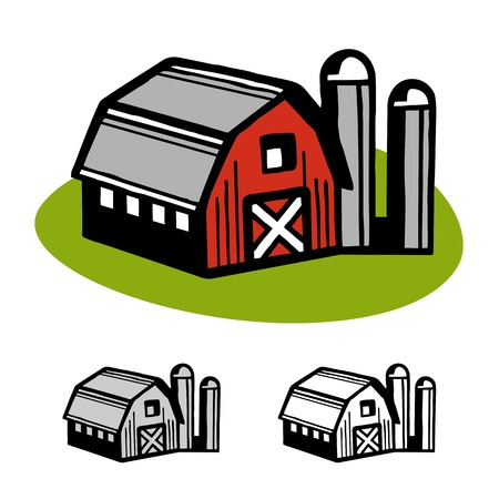 red barn: Farm barn and silo cartoon illustration design