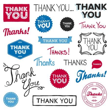 gratitudine: Set di varie grafica disegnata e reso Grazie
