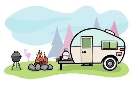 Vintage style camper trailer and camping scene Illustration