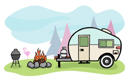 Vintage style camper trailer and camping scene Vectores