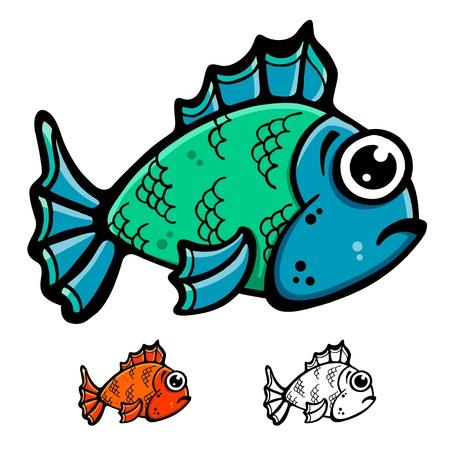 Blauw en groen vis cartoon illustratie