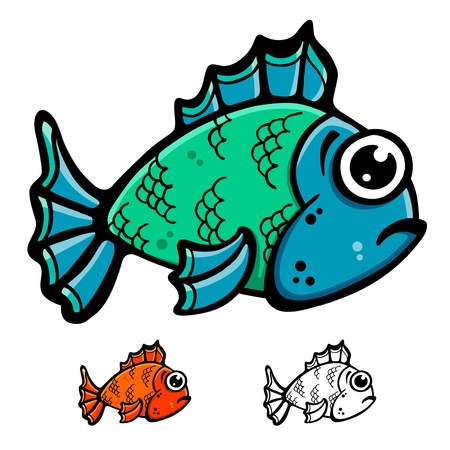 Blue and green fish cartoon illustration