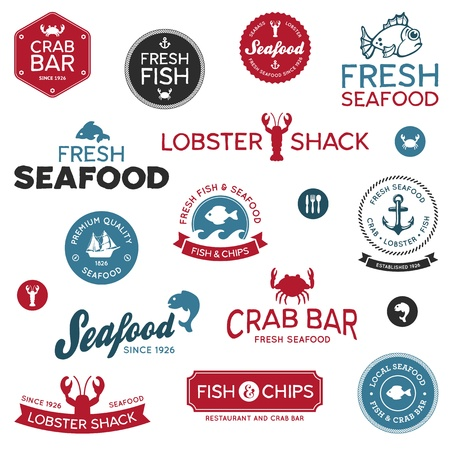 fish and chips: Conjunto de etiquetas de restaurantes clásicos y modernos mariscos