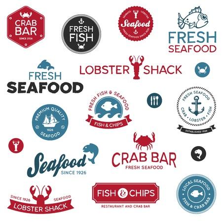 owoce morza: Zestaw klasycznych i nowoczesnych etykiet Seafood Ilustracja