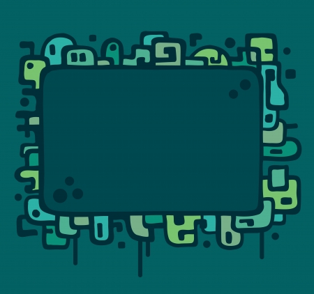 Illustrated frame featuring abstract line art and shapes