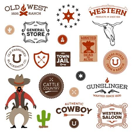 Uitstekende Amerikaanse oud west westelijk ontwerpen en afbeeldingen