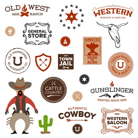 Vintage American old west western designs and graphics Vector