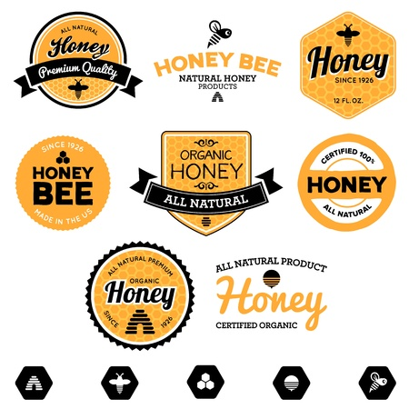 Set of honey and bee labels for honey products