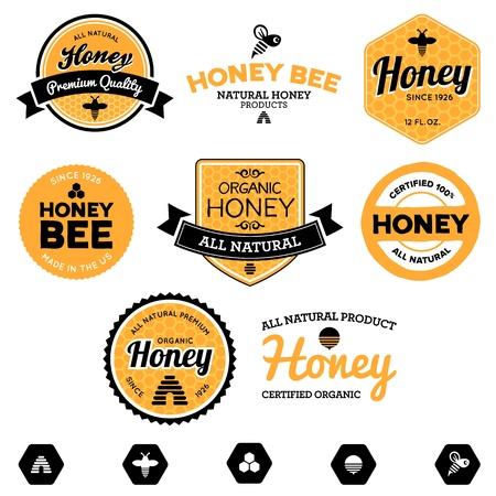 Set di etichette miele e prodotti delle api per il miele Archivio Fotografico - 14204770