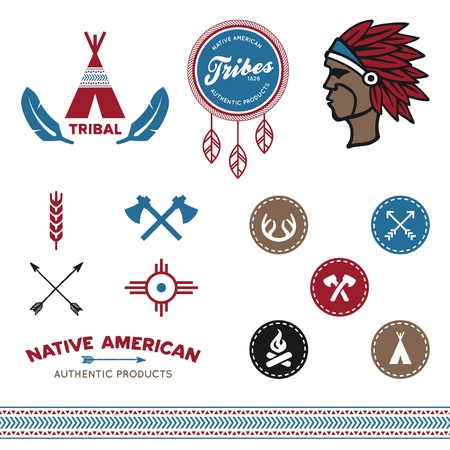 Set of native American tribal inspired designs and icons Vectores