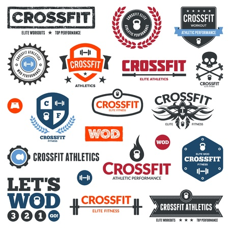 barbell: Set of various crossfit and WOD graphics and icons Illustration