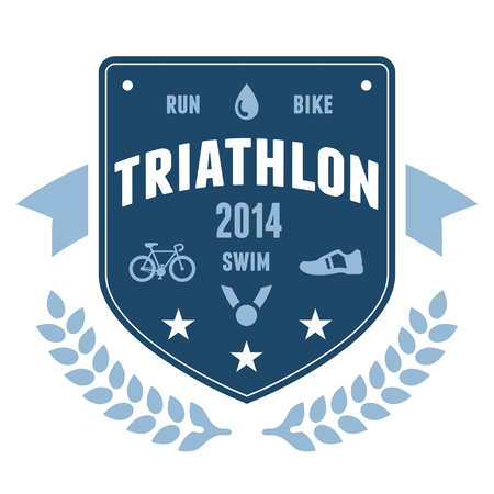 Modern triathlon badge emblem with bike and medal graphics Ilustração