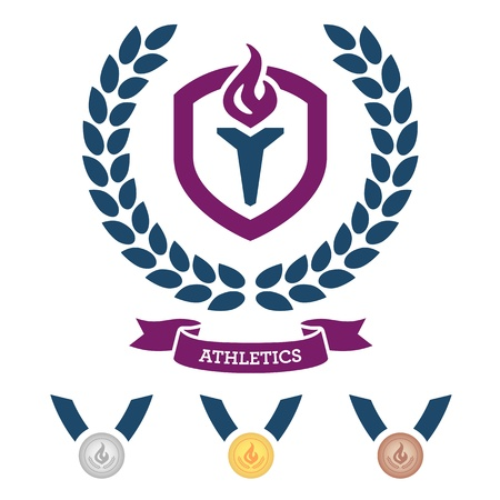 Athletics emblem and medals for competitive events Stock Vector - 14780528