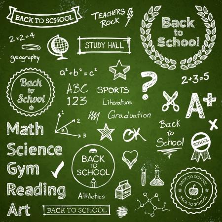 学校に戻る手を描画するテキストの文字とアイコン  イラスト・ベクター素材