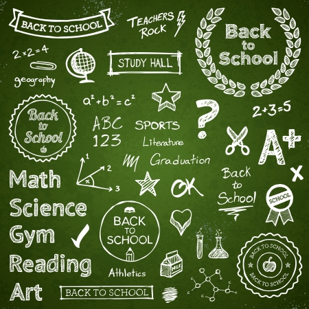 written text: Back to school hand drawn text lettering and icons