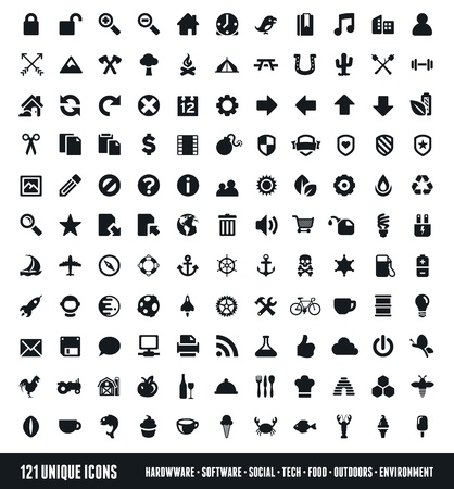 Set of 121 various icons and design elements Illustration