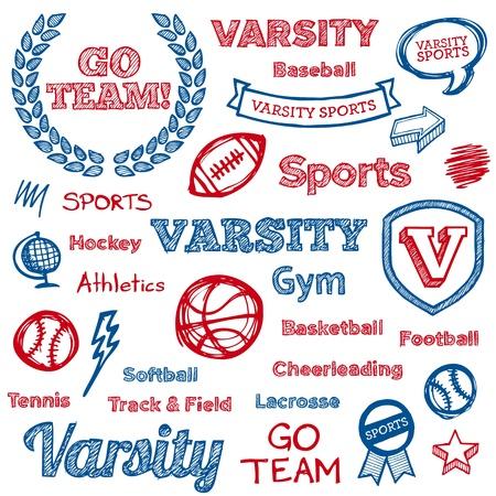 Set di mano disegnato scuola testo lettering sport e le icone Archivio Fotografico - 14892020