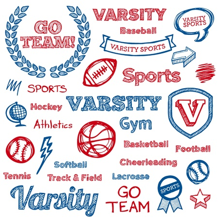 varsity: Set of hand drawn school sports text lettering and icons