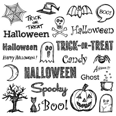 boom halloween: Halloween hand getekende tekst letters en afbeeldingen Stock Illustratie