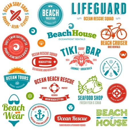 at anchor: Set de playa y oc�ano insignias y emblemas estilo