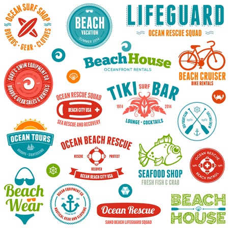 cruiser bike: Set of beach and ocean style badges and emblems