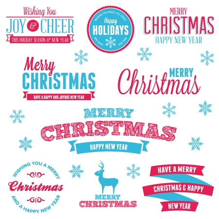 Set of vintage Christmas holiday labels and text graphics Stock Vector - 16296741