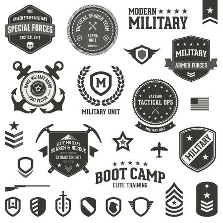 Set der militärischen und der Streitkräfte Abzeichen und Etiketten