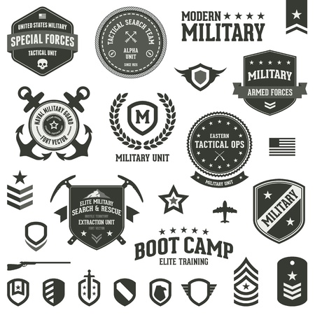 camp: Set of military and armed forces badges and labels