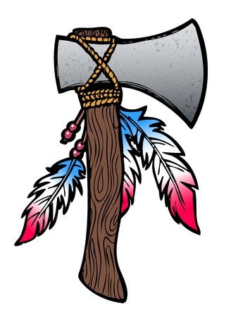 tomahawk: Hatchet axe drawing with feathers and beads Illustration