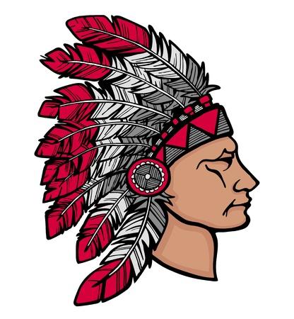 Native American chief man in tribale hoofdtooi Stock Illustratie
