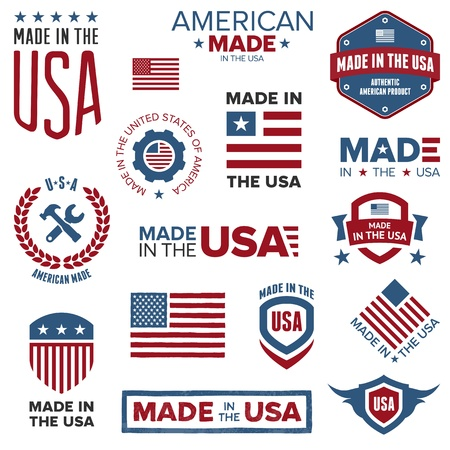 patriotic usa: Set of various Made in the USA graphics and labels