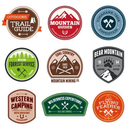 Set van outdoor avontuur en expeditie badges