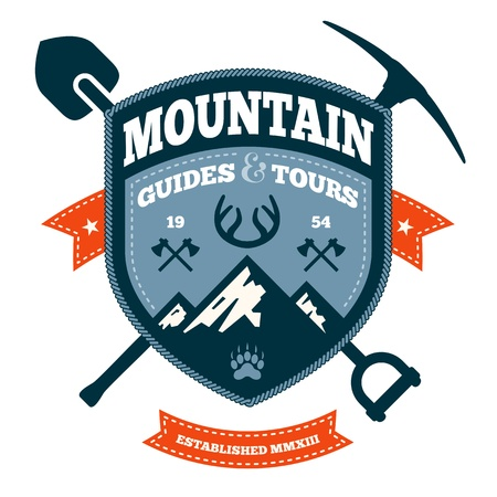 Mountain themed outdoors emblem with tools and axes Ilustracja