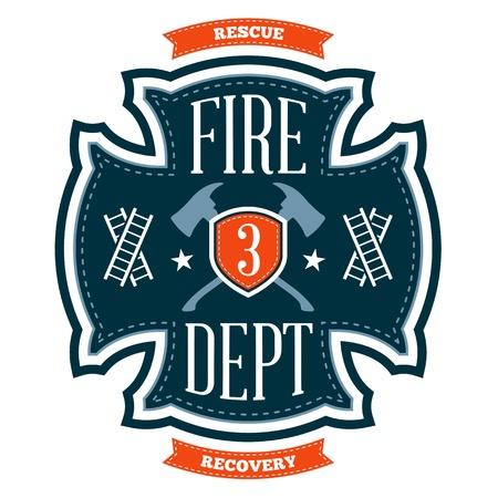 Brandweer embleem kuif met gekruiste assen