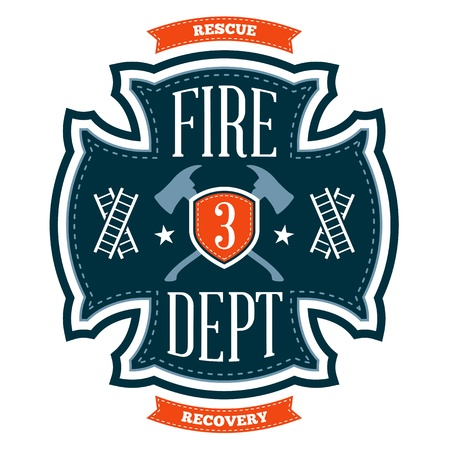 Fire department emblem crest with crossed axes