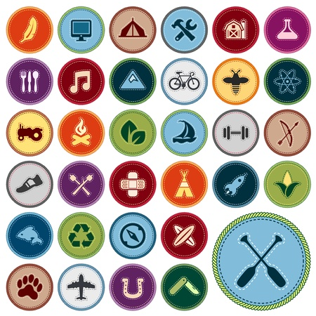 Set of scout merit badges for outdoor and academic activities