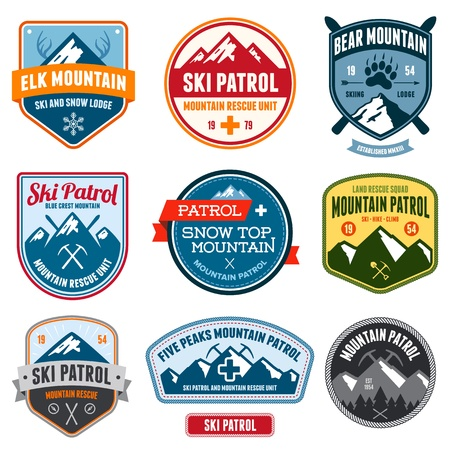 Set of ski patrol mountain badges and patches