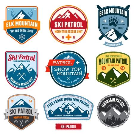 Set van skipatrouille berg badges en patches
