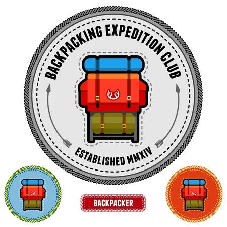 Zaino illustrazione su un emblema distintivo di design di patch Archivio Fotografico - 17766664