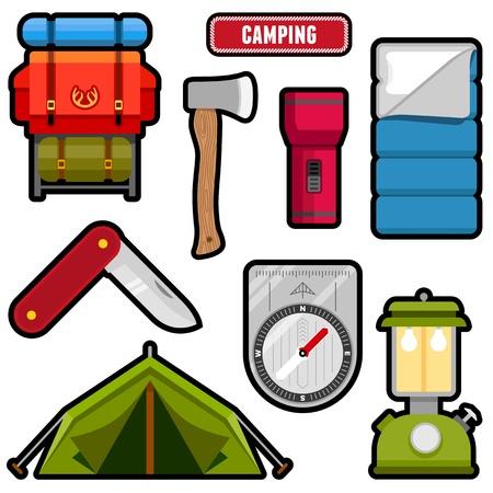 Set van kampeeruitrusting grafieken en iconen