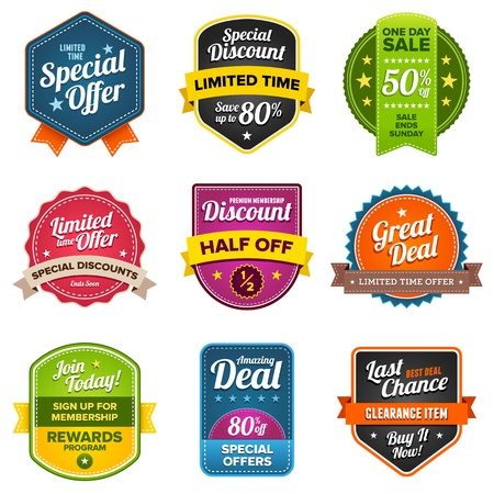Set of sales labels and sticker graphics Vettoriali