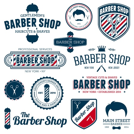 barber scissors: Set of vintage barber shop graphics and icons