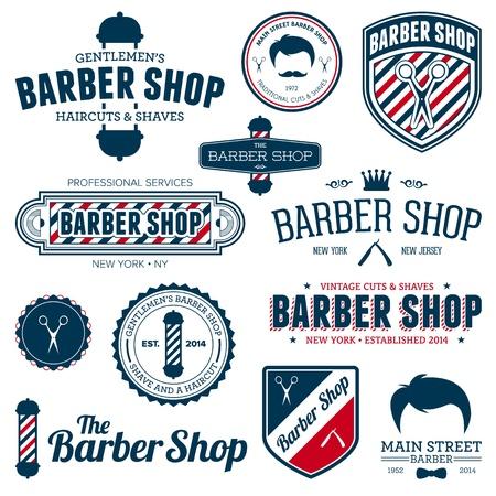 barber shop: Set van vintage kapperszaak grafieken en iconen Stock Illustratie