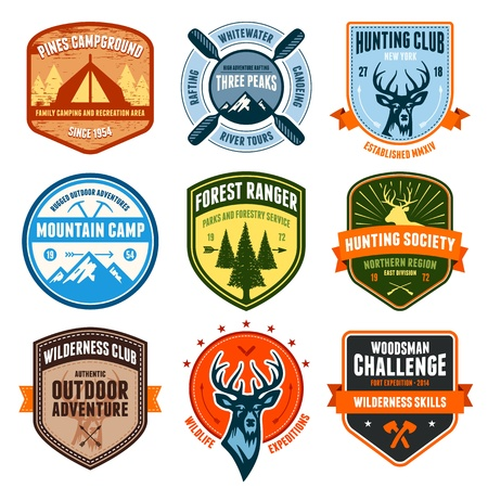 Set of outdoor adventure badges and hunting emblems Ilustrace