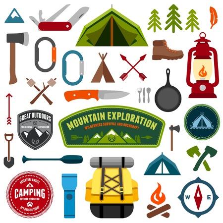 палатка: Набор туристическое снаряжение символы и значки Иллюстрация